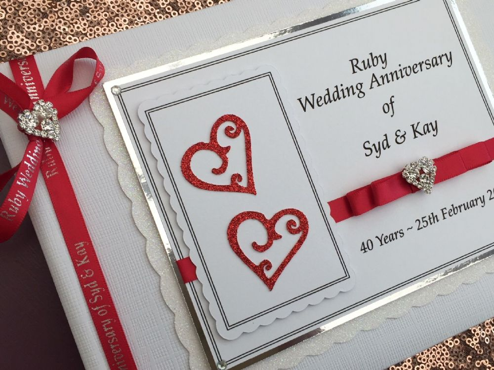Personalised 40th Wedding Anniversary Guest Book